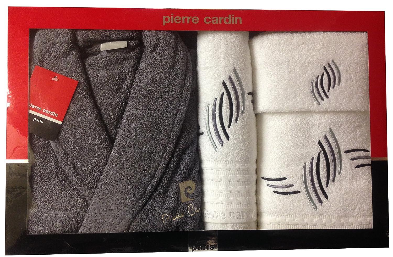 L/XL gris y blanco gota de lluvia Pierre Cardin 4 piezas Albornoz y toalla juego, bordado gris plata líneas curvas - 100% algodón funda albornoz, ...