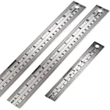 Gimars Start from Edge 3 Pcs Heavy Stainless Steel 6 +12 inch Rounded & Straight Edge Ruler Metal Rule Kit with Conversion Table