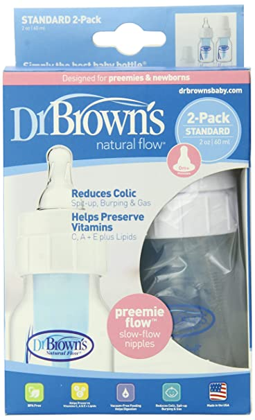 Dr. Brown's Natural Flow Feeding Bottle, Polypropylene 2-ounce, 2 Pack