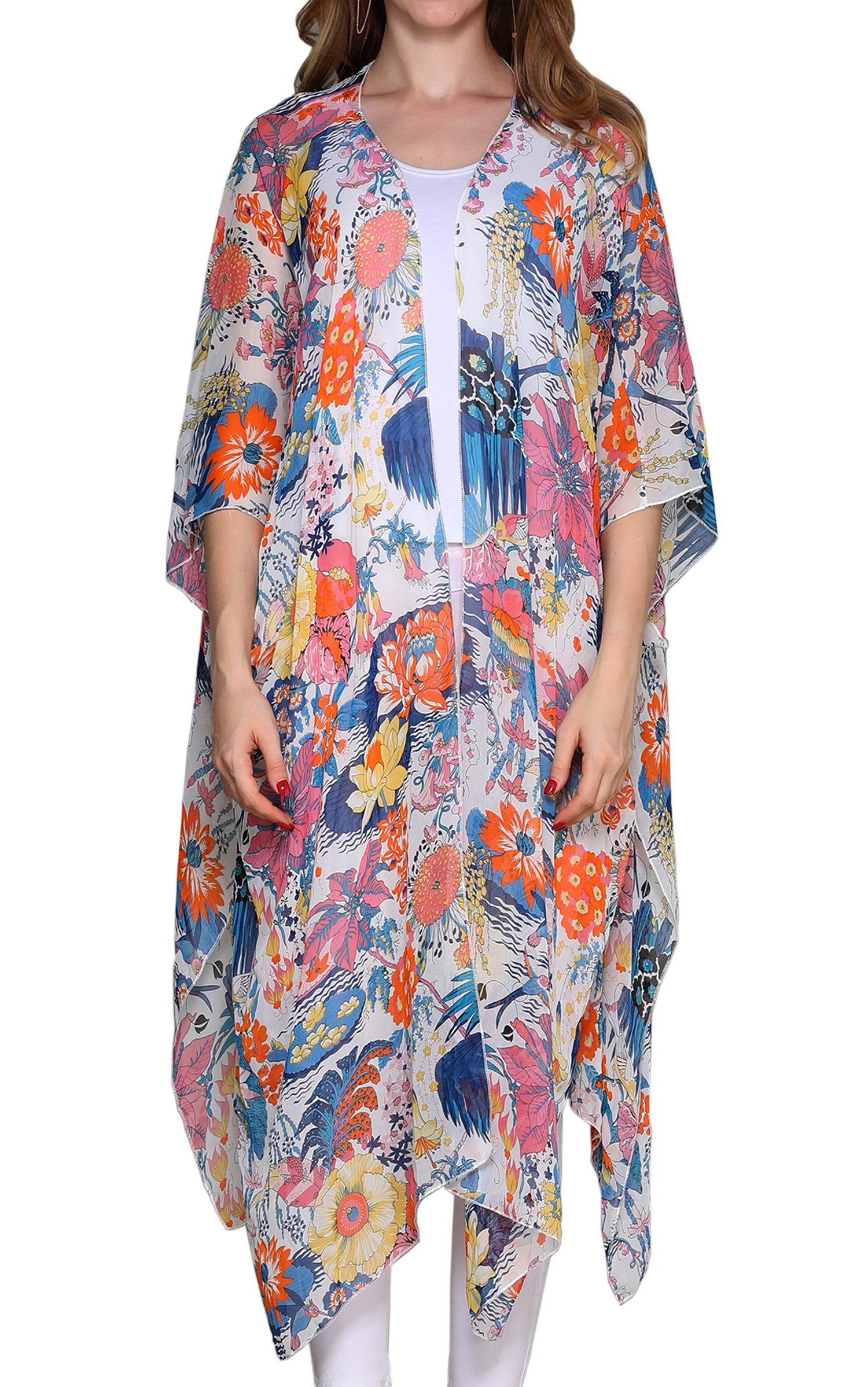 Hibluco Women's Sheer Chiffon Floral Kimono Cardigan Long Blouse Loose Tops Outwear by Hibluco