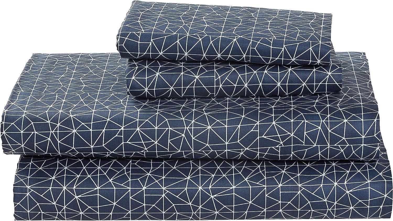 Amazon Brand – Rivet Spectrum 100% Sateen Cotton Bed Sheet Set, Easy Care, Full, Denim Blue