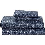 Rivet 2DGJH360 Amazon Brand – Spectrum 100% Sateen Cotton Bed Sheet Set, Easy Care, California King, Denim Blue