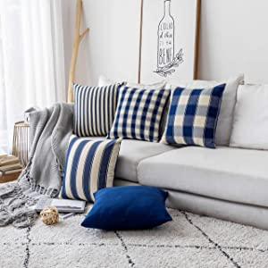 Home Brilliant Decor Throw Pillow Cover Decorative Accent Striped Checker Plaid Farmhouse Design Square Cushion Cover for Bench, Set of 5, 18 x 18 inch (45cm), Dark Royal Blue