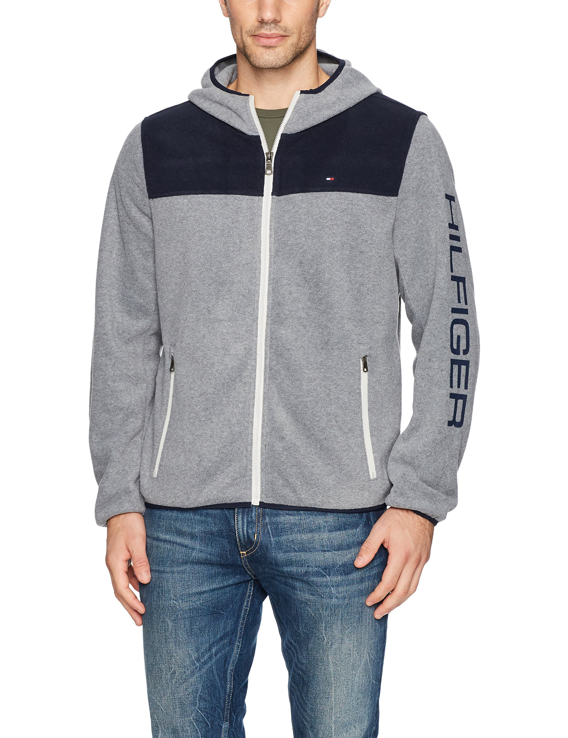 Tommy Hilfiger Men's Hooded Performance Fleece Jacket, Navy/Light Grey, Large by Tommy Hilfiger