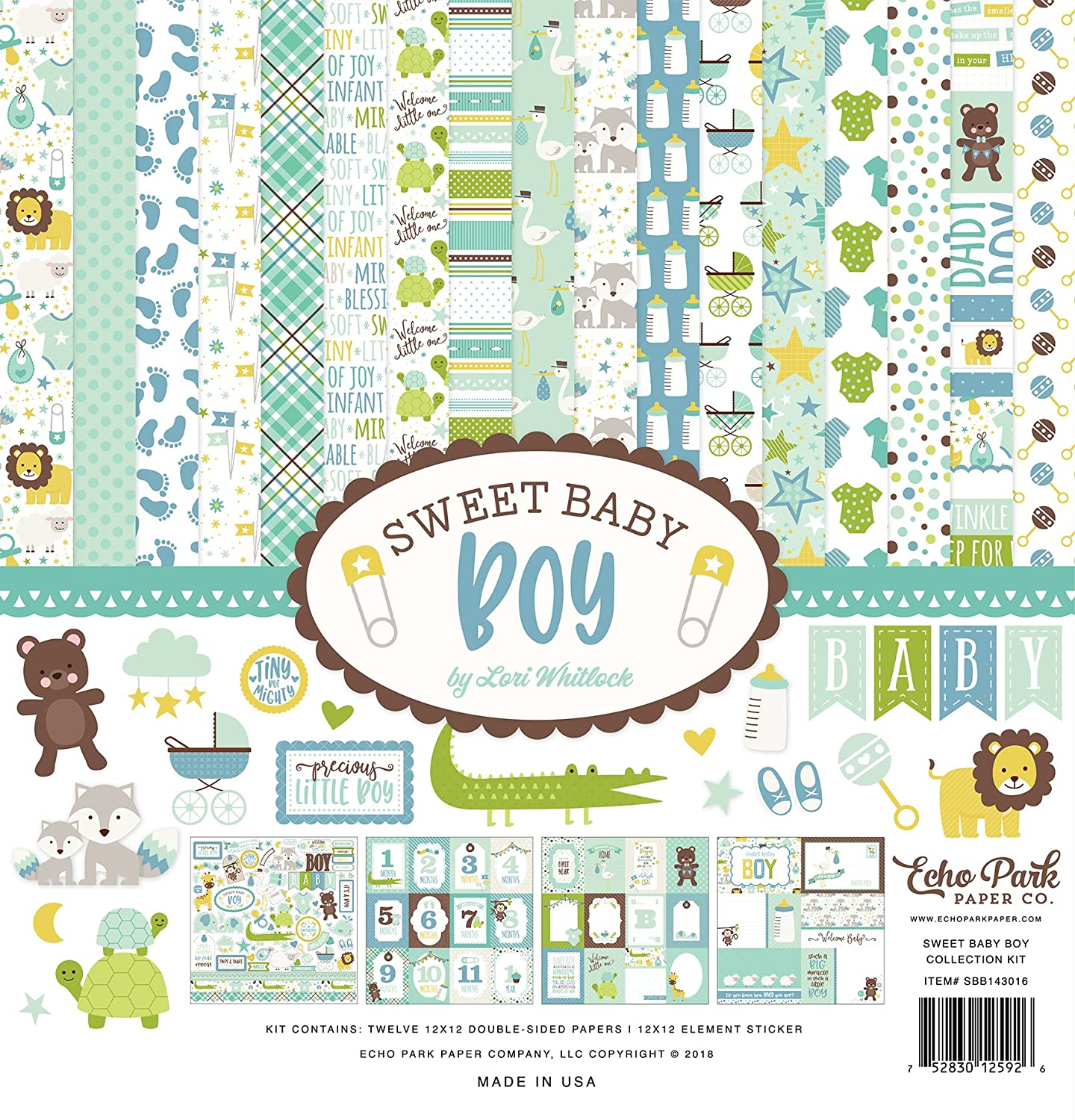 Echo Park Paper Company Sweet Baby Boy Collection Kit SBB143016