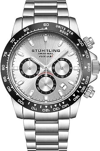 "Stuhrling Original Mens deporte reloj cronógrafo – acero inoxidable cepillado mate pulsera, 891 Fórmula """
