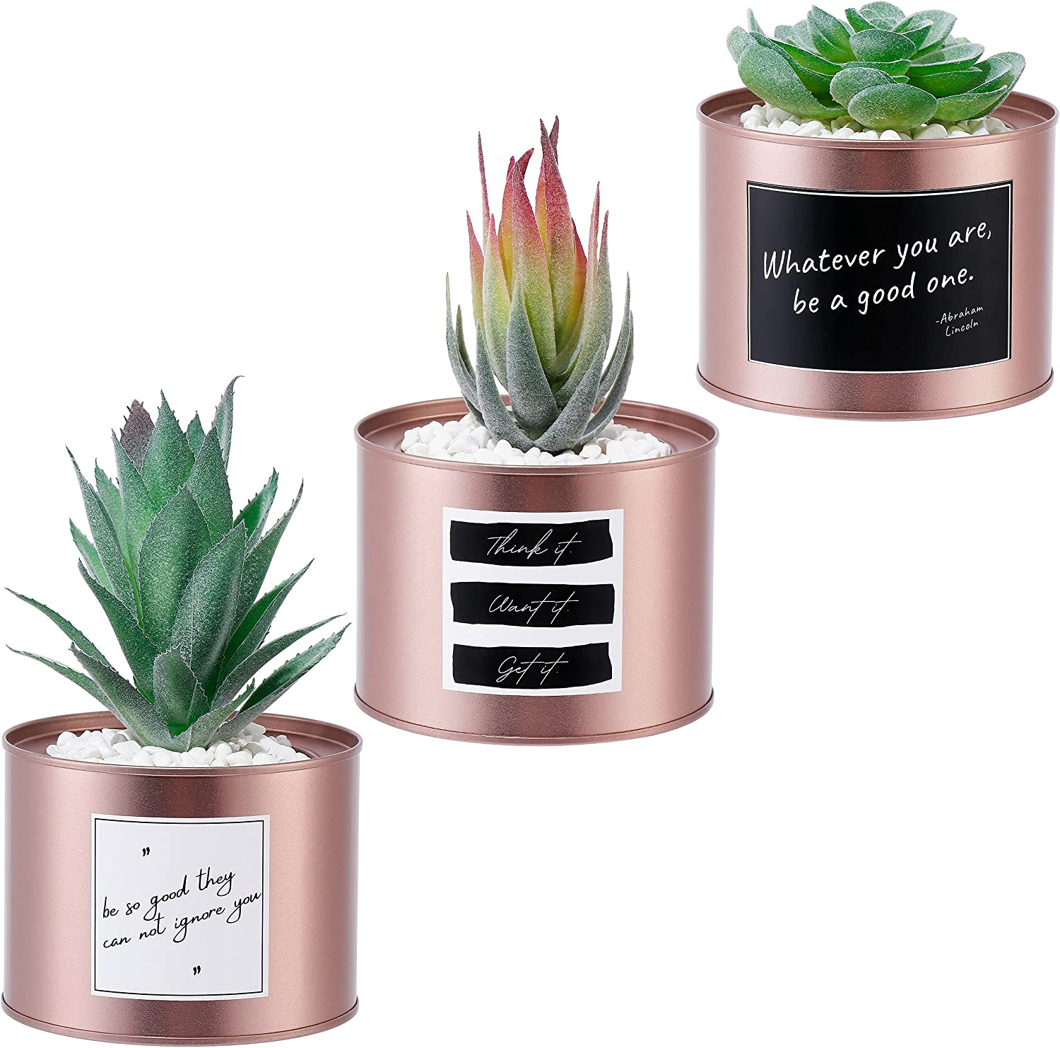 MAZER Set of 3 Succulent Plants in Rose Gold Pots, Fake Plants, Artificial Plants, Realistic Faux Greenery, Decor for Home, Office, Apartment, Bookshelf, Kitchen, 3.9 Inch, Decorations, Women Gift
