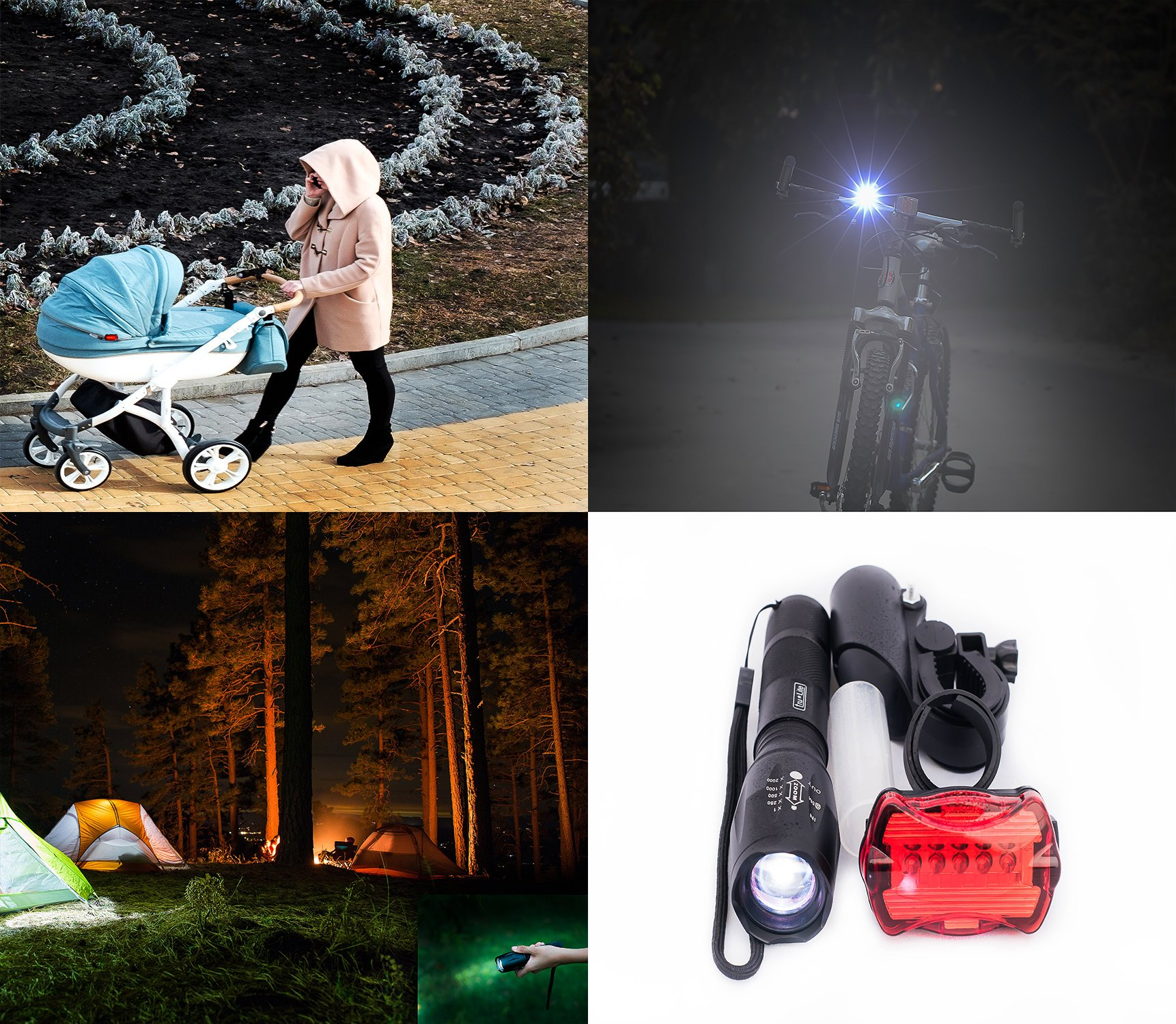 tru*Lite Bike Light Set-Super Bright 10W Removable Military Grade Tactical Flash Light-5 modes-1000+ Lumens-Zoom-5 LED Tail Light-7 modes-Water Resistant-Easy to Install-Life Time Warranty by tru*Lite (Image #6)