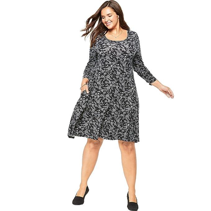 Woman Within Women\'s Plus Size Trapeze Dress