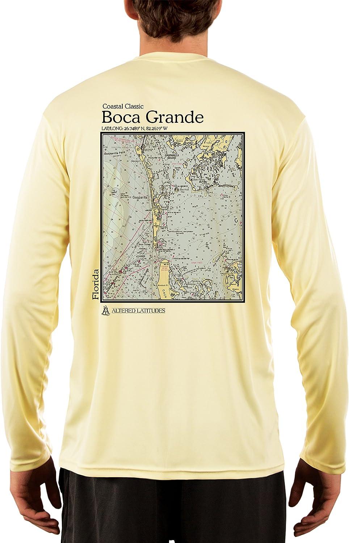 Coastal Classics Boca Grande Nautical Chart Men's UPF 50+ UV/Sun Protection Long Sleeve T-Shirt