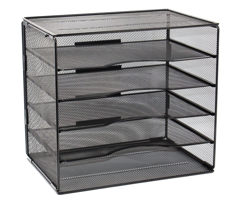 EasyPAG 5 Tier Assembly Desktop File Sorter Storage Organizer,Black