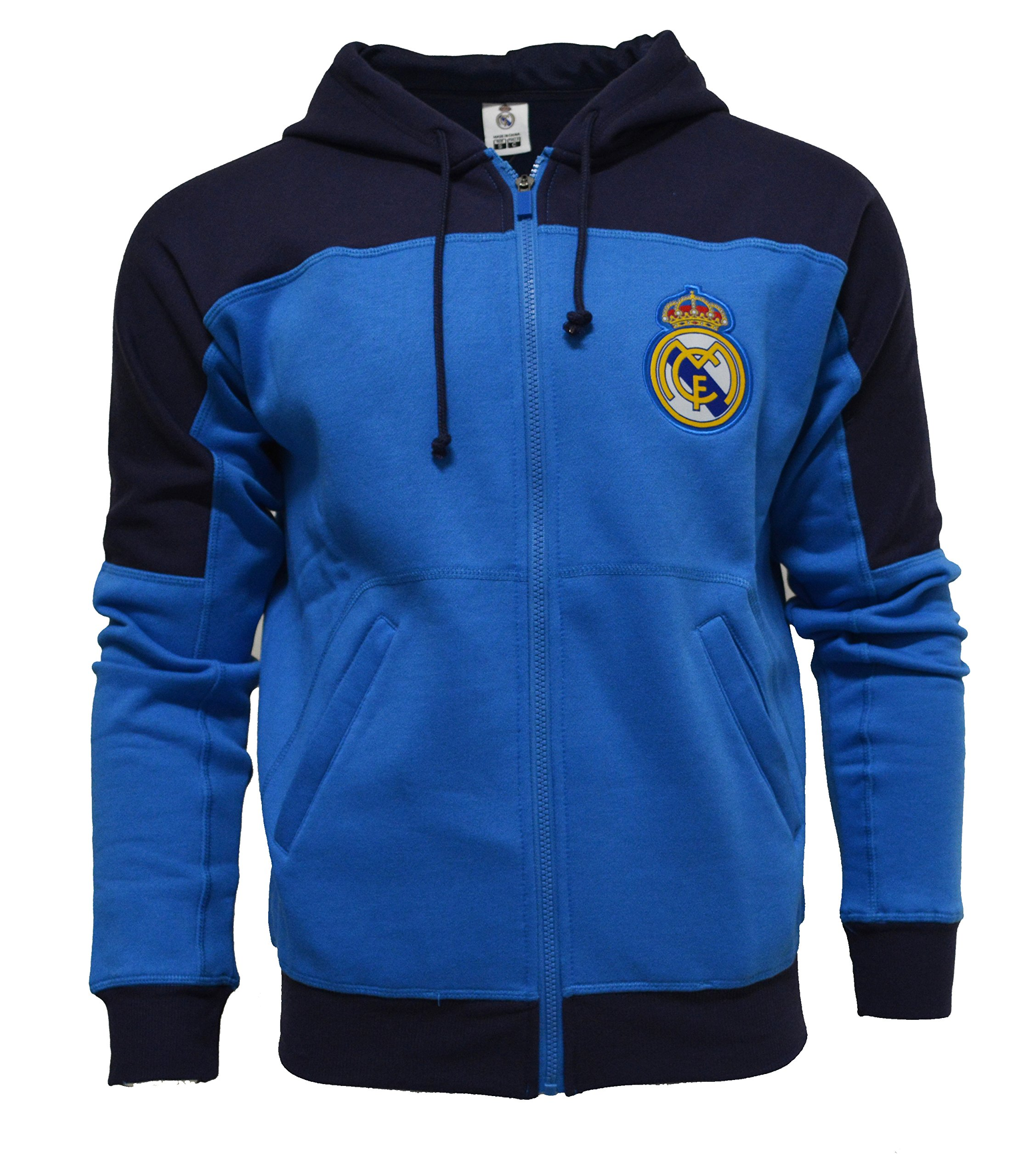 Real Madrid Hoodie Youth Boys Zip Front Fleece Sweatshirt Jacket (YXL)