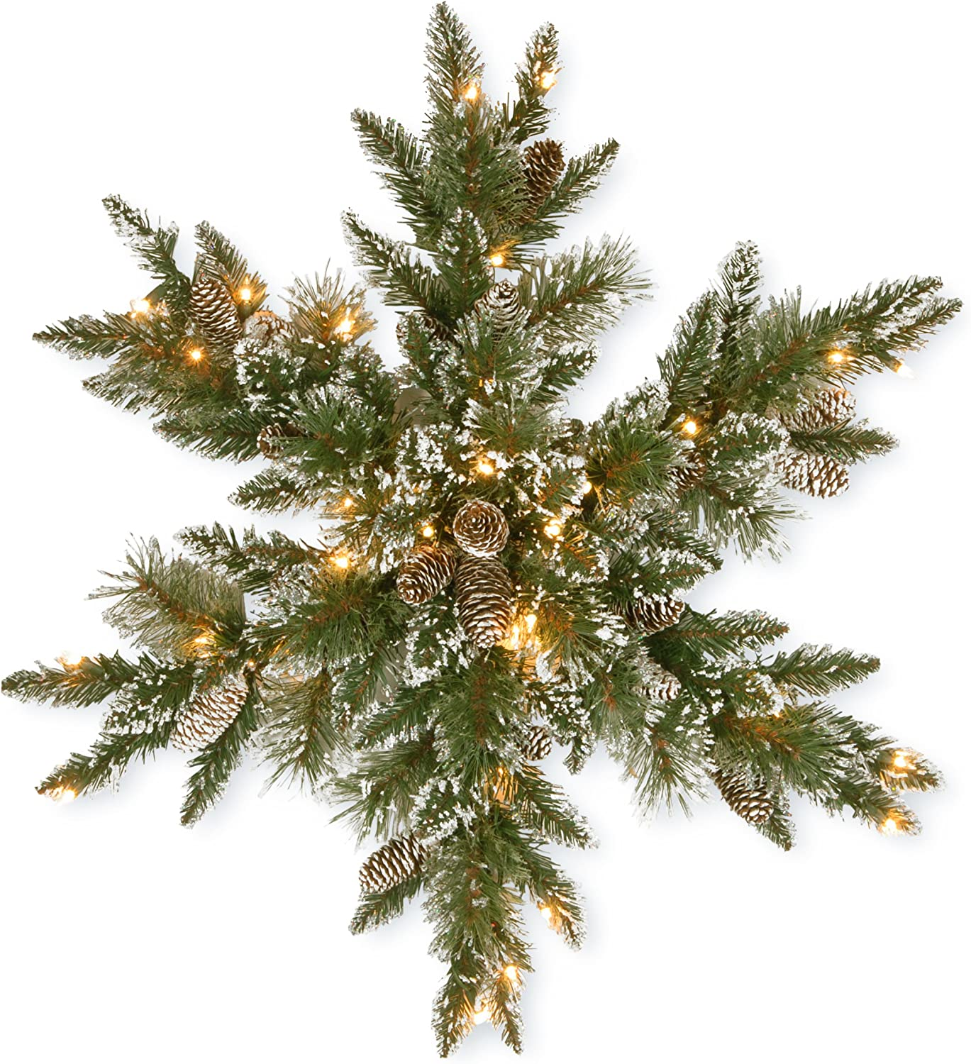 National Tree Company Pre-lit Artificial Christmas Star Shaped Wreath | Includes Pre-strung LED Lights | Glittery Bristle Pine - 32 Inch