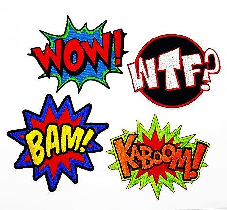 Amazon.com: PP parche juego de 4 WOW., WTF., Bam., Kaboom ...