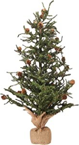 Vickerman Carmel Colored Pine Tree with Pine Cones and 684 Tips with Burlap Base, 30-Inch Xmas Tree