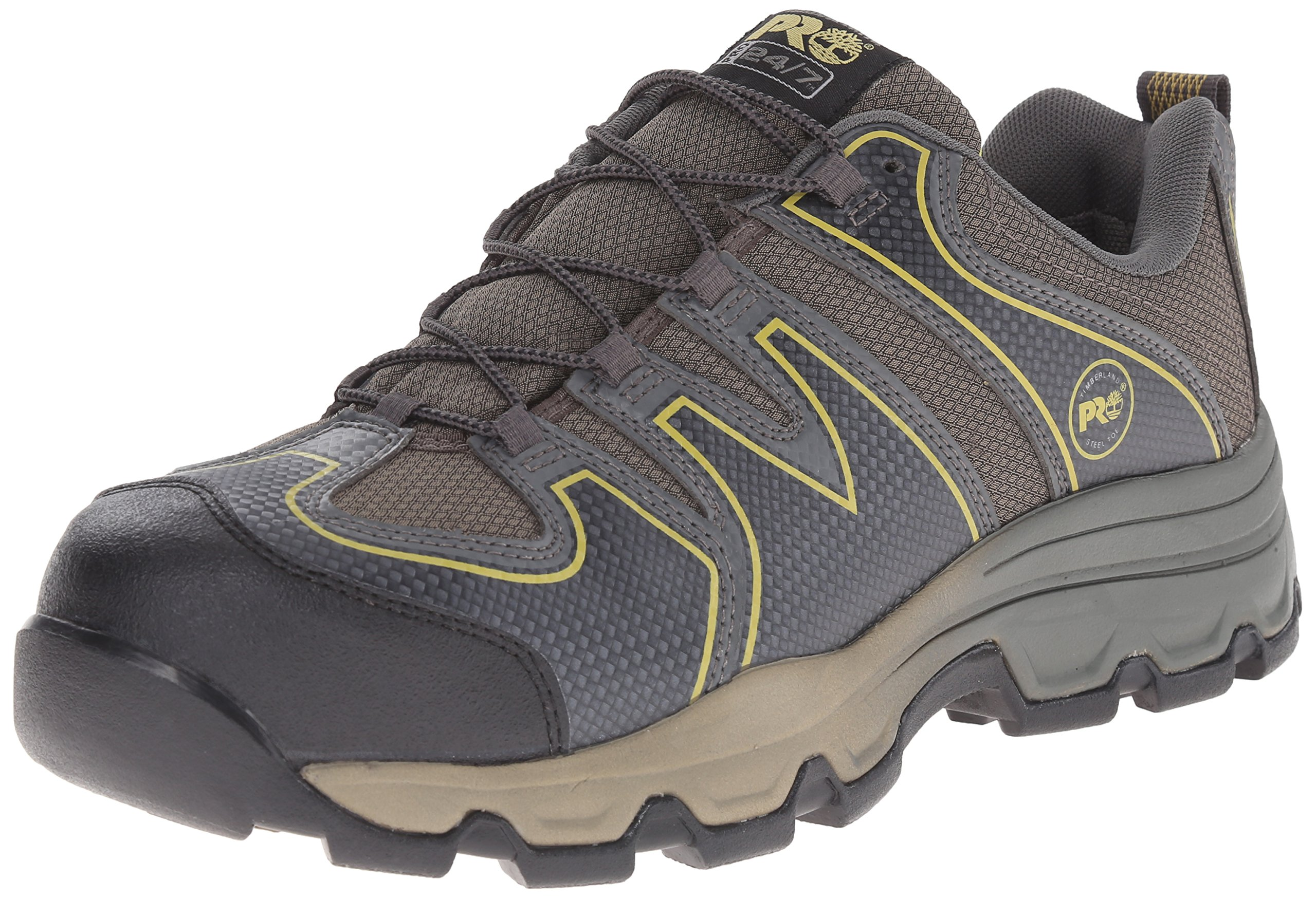 Timberland PRO Men's Rockscape Low Steel Toe Industrial Hiking Boot, Grey Synthetic with Yellow Pops, 11 M US