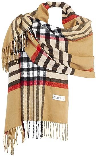 Ornella Venturi Ladies Etole écharpe Foulard à carreaux en look à carreaux  tendance, chameau plaid f0124078516