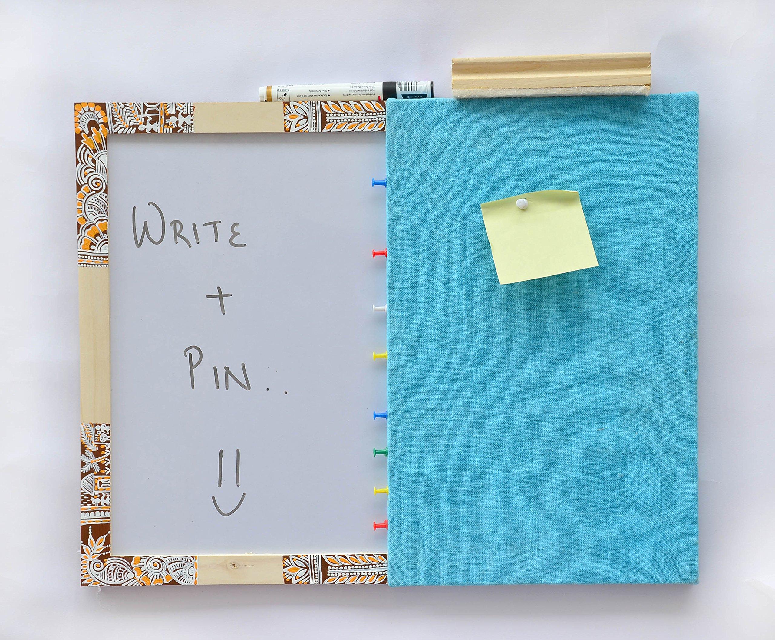 IVEI Pinboard + Whiteboard, Combination Board - Handpainted Chowk Work