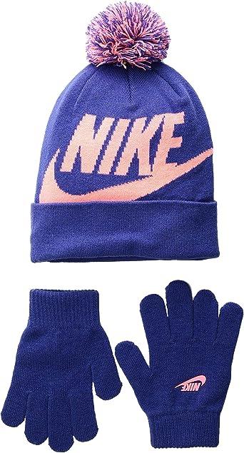 4//7 Nike Little Boy/'s 2-Piece Swoosh University Red Pom Hat /& Gloves Set Sz