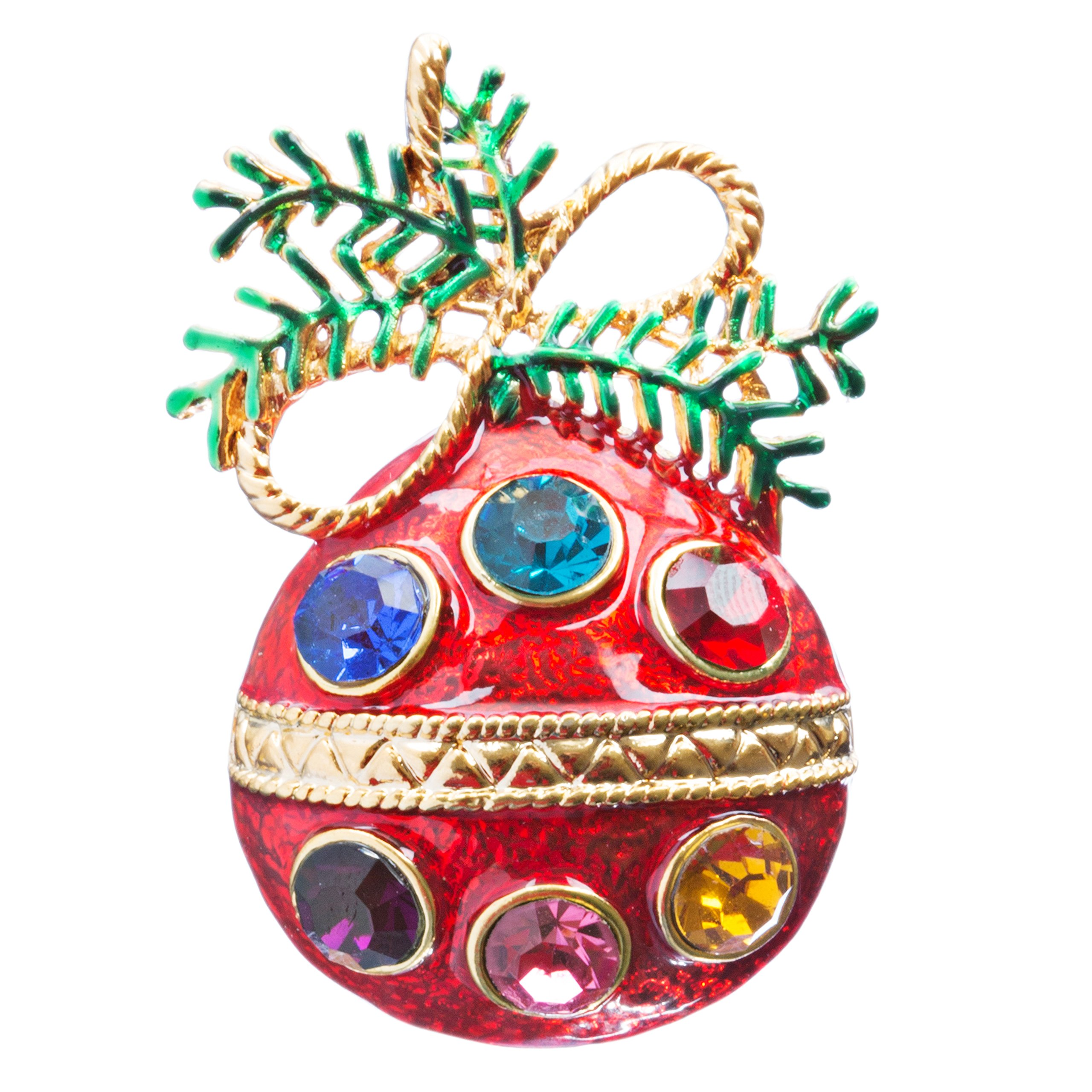 ACCESSORIESFOREVER Christmas Jewelry Crystal Rhinestone Charming Holiday Ball Brooch Pin BH144 MT