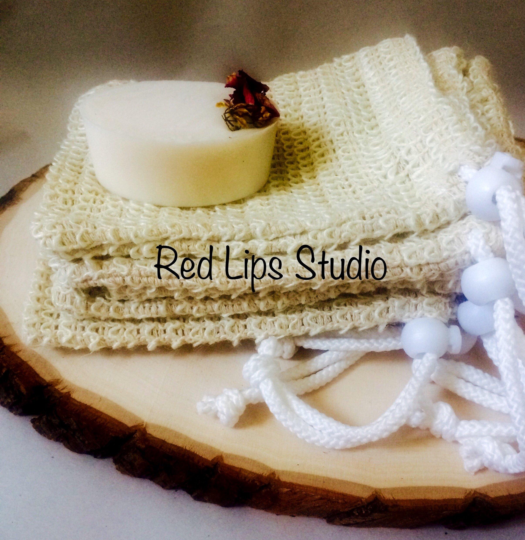 3 Pack-Natural Fiber Sisal Mesh Soap Saver Sock Pouch Holder-Face & Body Luxury Skincare