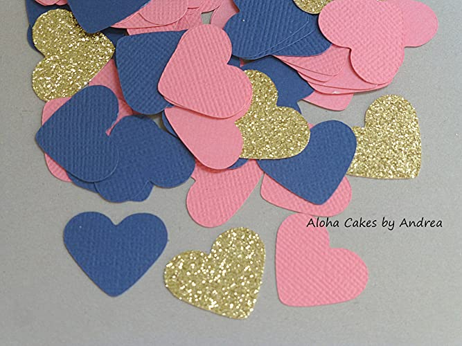 Amazon Heart Confetti Navy Blue Glitter Gold And Coralpink