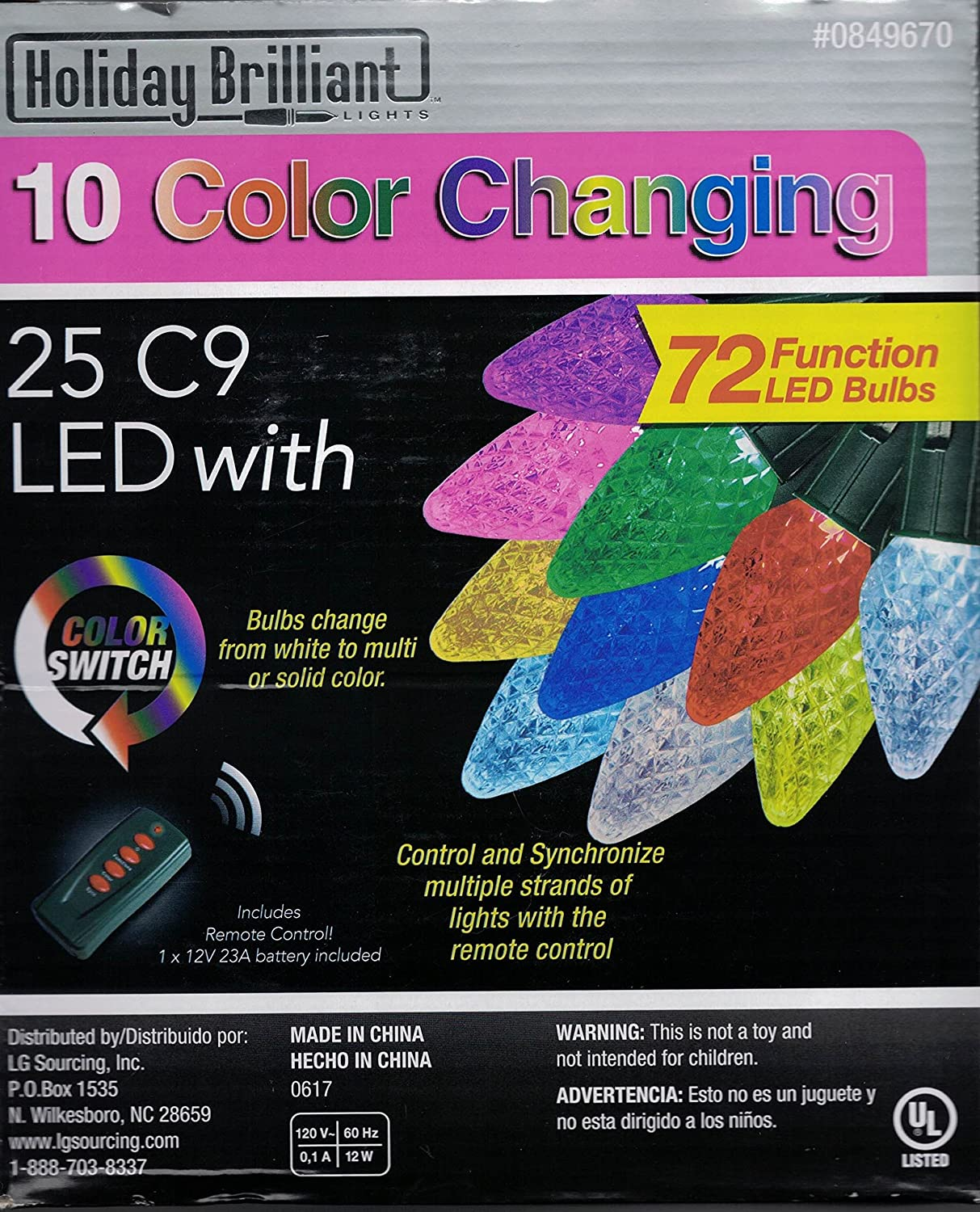 Amazon.com : 25-Count 24-ft Multi-Function (Color Lights) Multicolor C9 Led  Plug-in Indoor/Outdoor Christmas String Lights ENERGY STAR : Garden &  Outdoor