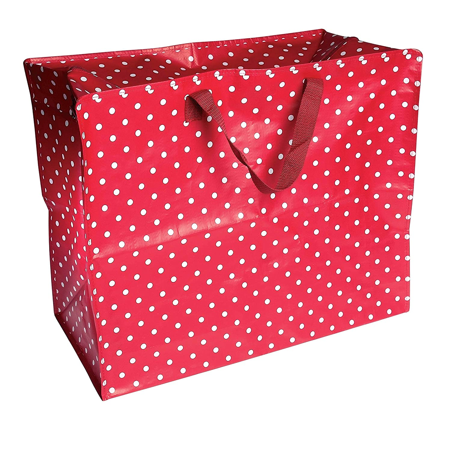 dotcomgiftshop Large Red Storage Bag with Zip - Strong and Durable 55 x 48 x 28cm 70l - Polka Dot Rex International Ltd 85099B