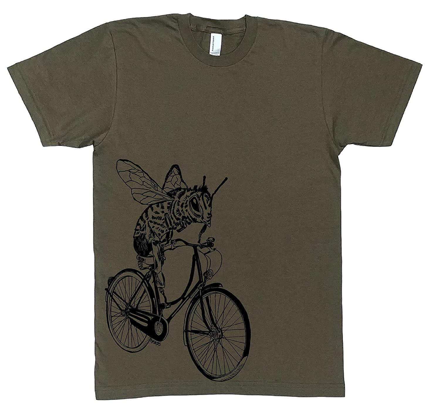 Funny Mens Graphic T Shirt -Bee on a Bike - Short Sleeve Top S M L XL XXL Army Green