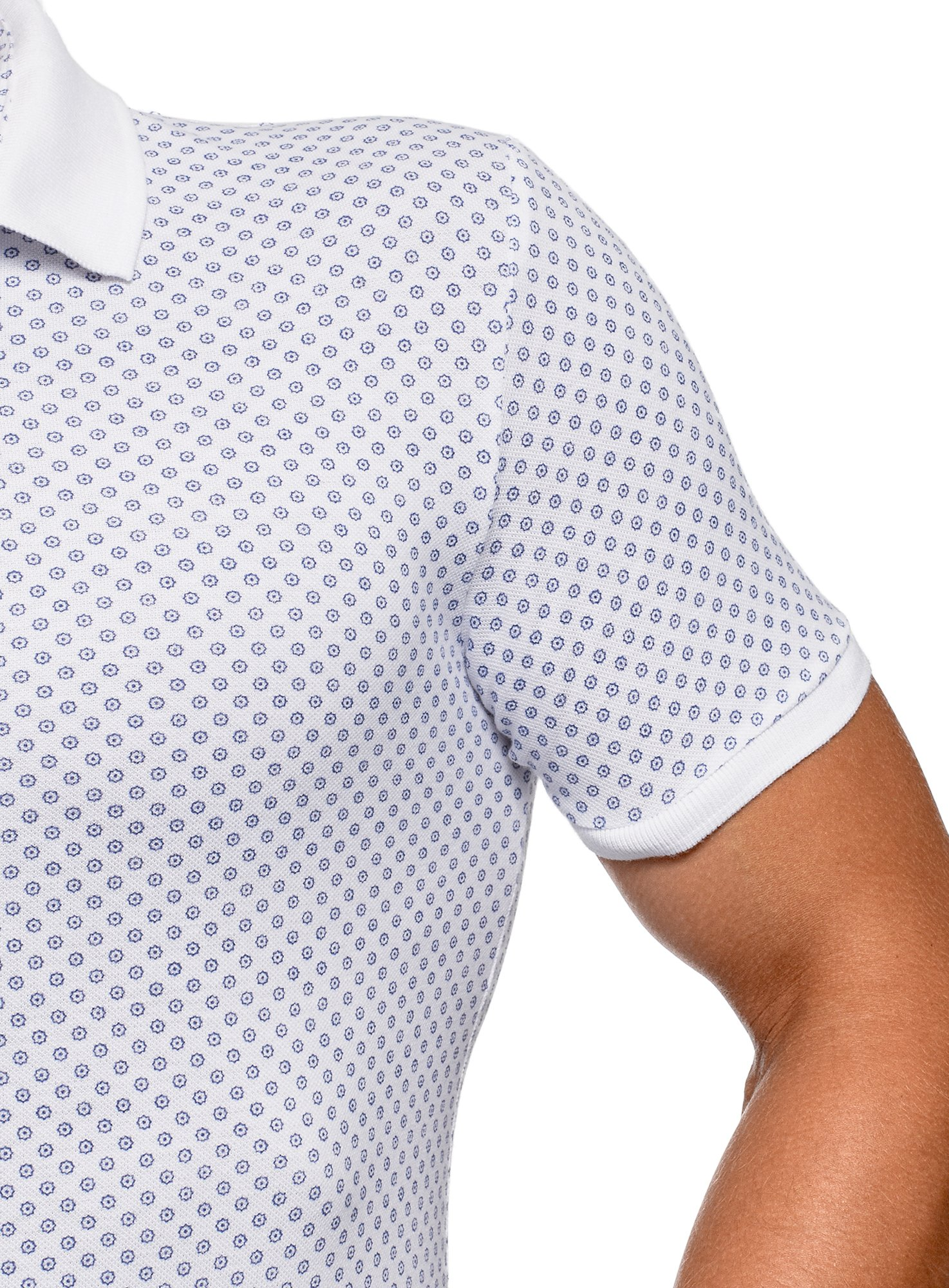 oodji Ultra Men's Pique Polo Shirt with Fine Graphic Print, White, US 40 / EU 50 / M by oodji (Image #2)