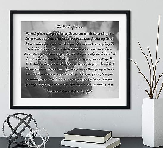 162a3be62eb5 Amazon.com  Song Lyrics Wall Decor - Black Frame Available - Wedding Song  Lyrics Personalized - Your Photo  Handmade