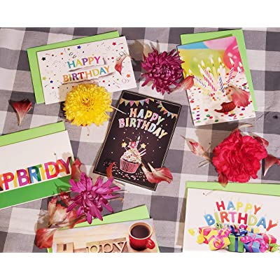 or Clients Office 144 Blank Birthday Card Assortment Box Set Bulk with A4 Envelopes and Cards 24 Each Design for Employees Blank Inside Made in USA