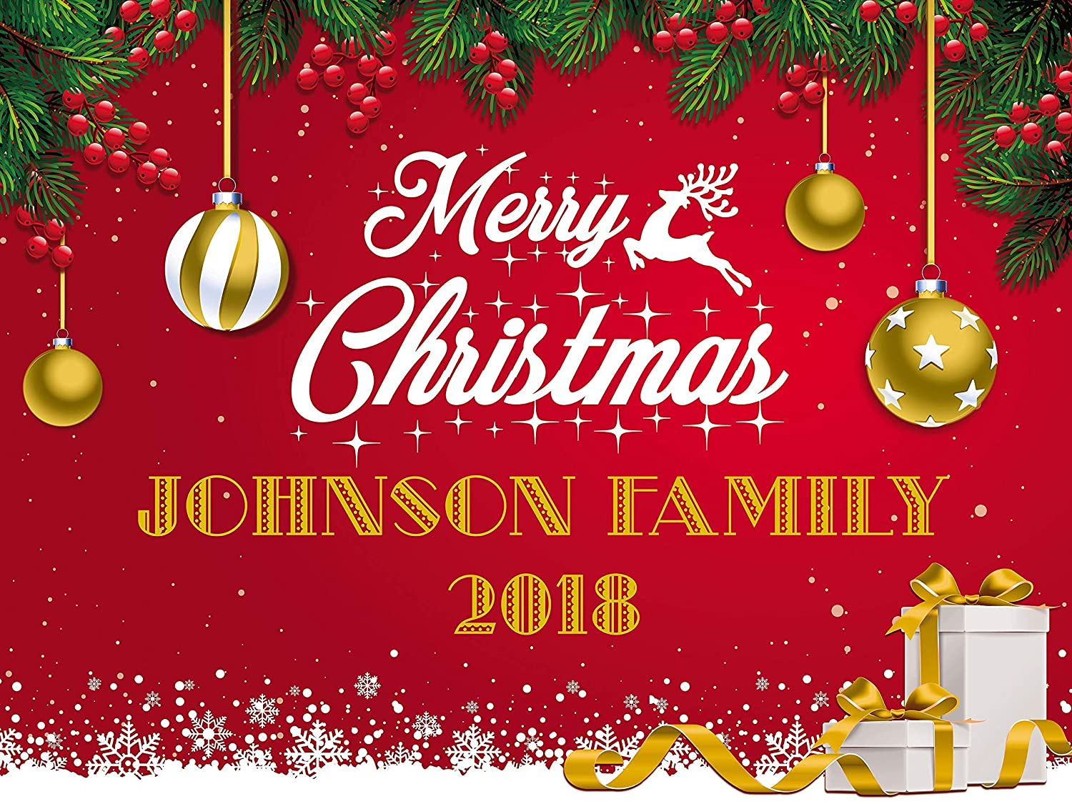 Merry Christmas Family.Amazon Com Merry Christmas Holiday Party Banner Festive