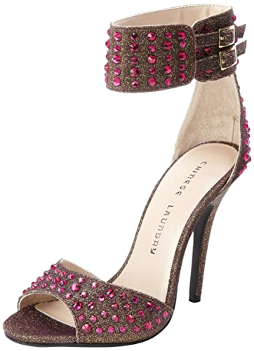 Chinese Laundry Womens Jovial Two Piece Dress Sandal Pink Multi Glitz Fabric
