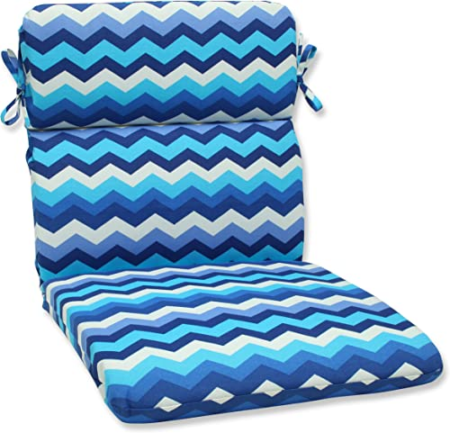Pillow Perfect Outdoor Indoor Panama Wave Azure Round Corner Chair Cushion, 40.5 x 21 , Blue