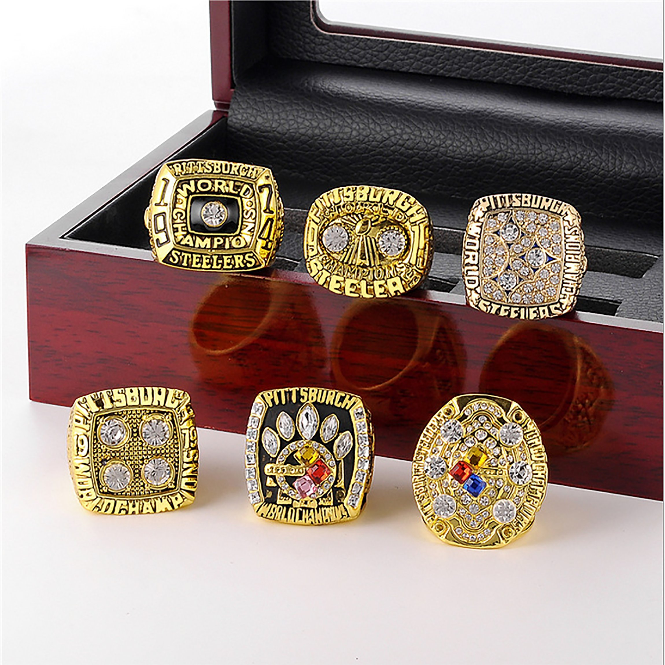 GF-sports store A Set of 6 Pittsburgh Steelers Super Bowl Championship Replica Ring by Display Box Set-(Yellow) by GF-sports store (Image #2)