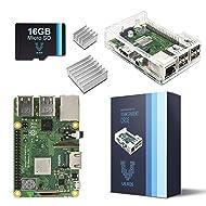 V-Kits Raspberry Pi 3 Model B+ (B Plus) Barebones Kit-With Preloaded SD Card-Clear Transparent Case and Set of 2 Heatsinks [LATEST MODEL 2018]