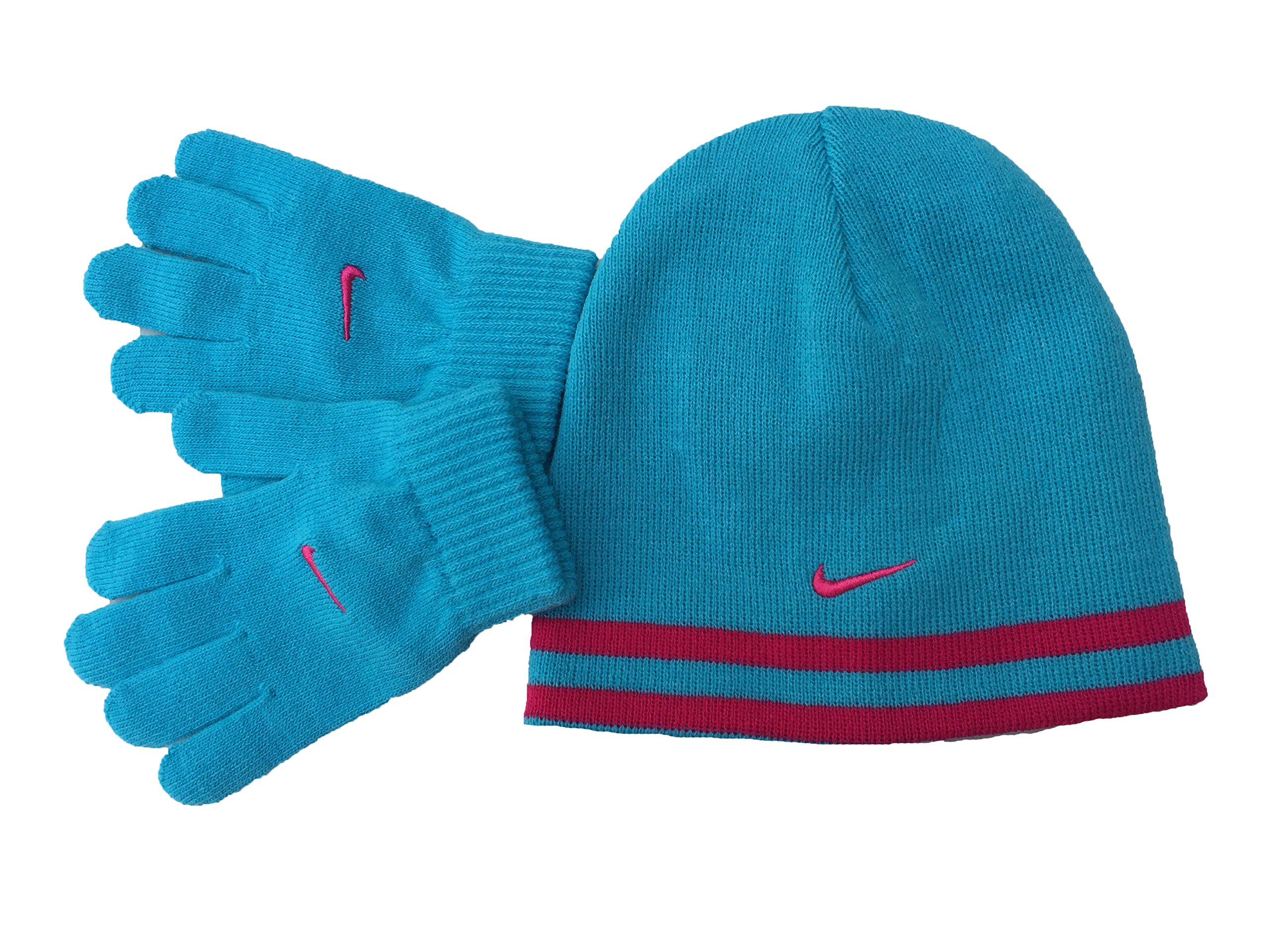 Nike Boy`s Reversible Beanie and Gloves Set,Gamma Blue (4a2517-930) / Red/Swoosh,7/16