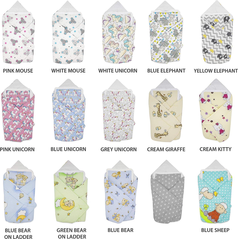 Saco de dormir para beb/és reci/én nacidos BlueberryShop manta de algod/ón para beb/és con almohada 78 x 78 cm Regalo perfecto para Baby Shower Amarillo Elefante