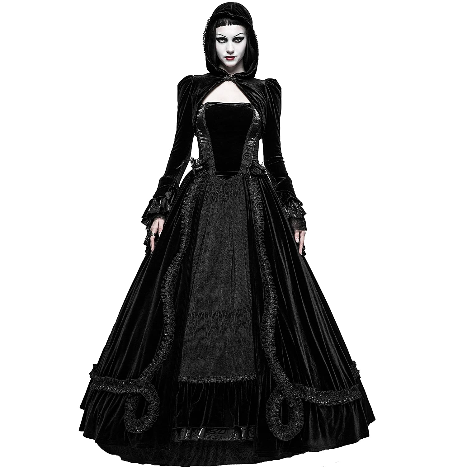Punk Rave Black Romantic Gothic Ball Gown Long Dress (Small) at ...