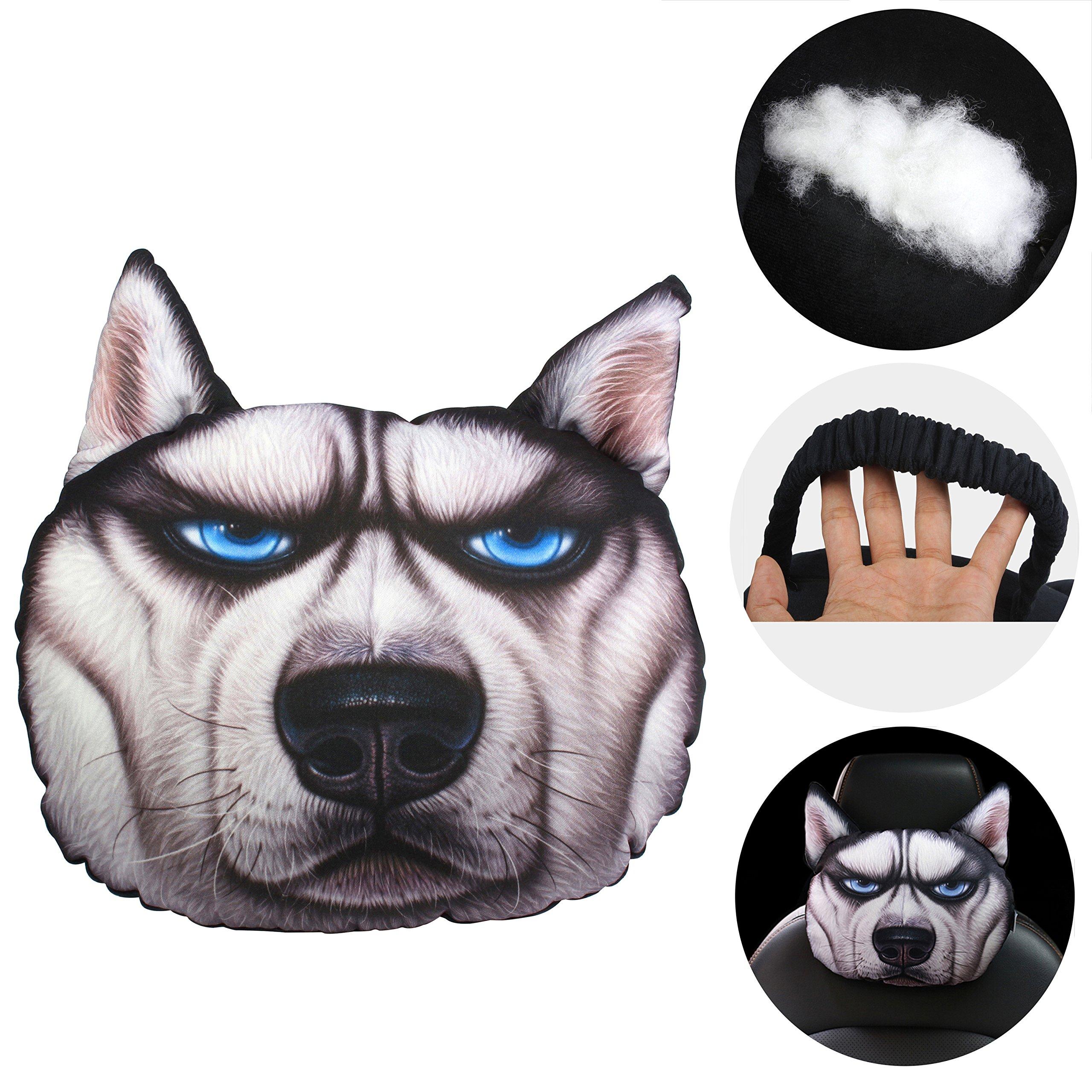 KOSBON Cute Animal 3D Dog Car Neck Pillow Lovely Auto Neck Rest Cushion Headrest Pillow Pad (Husky)
