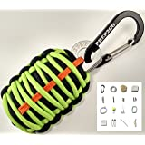 Paracord Survival Kit Keychain | Ultimate Emergency (25pc) Wilderness Prepper Gear for Camping Hiking Hunting Fishing. Moms Feel Safe! Your Kids can get Food, Fire & Shelter When Lost by Prep2Go!