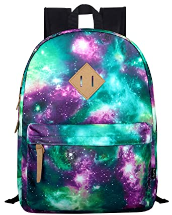 EcoCity Stylish Fashion Galaxy Stars School Laptop Backpacks Book Bags (Stars Pattern 1-Green) BP0038G1