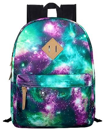 EcoCity Stylish Fashion Galaxy Stars School Laptop Backpacks Book Bags (Stars Pattern 1-Green) BP0038G1