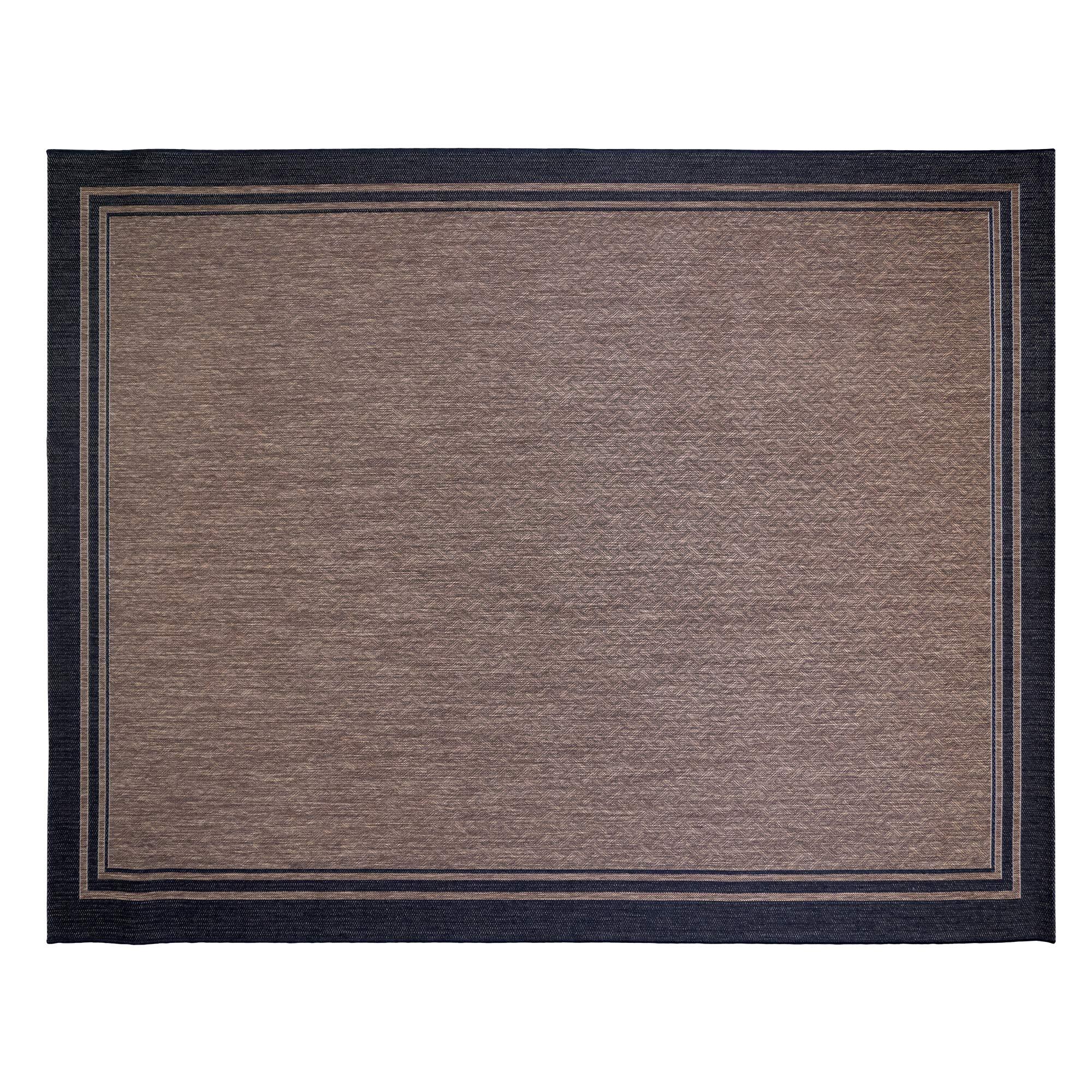 Gertmenian 21515 Coastal Tropical Carpet Outdoor Patio Rug, 8x10 Large, Black Border Dark