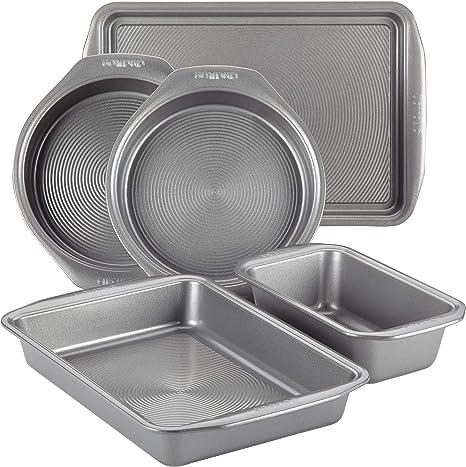 Circulon Nonstick Bakeware Set with Nonstick Bread Pan, Baking Pan, Cookie Sheet / Baking Sheet and Cake Pans - 5 Piece, Gray