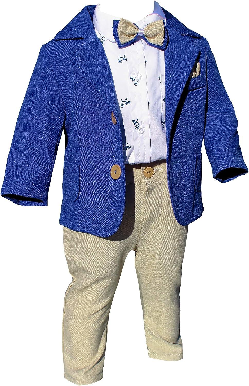 Lulinina - Vestido de bautizo elegante, de lino, color azul y ...