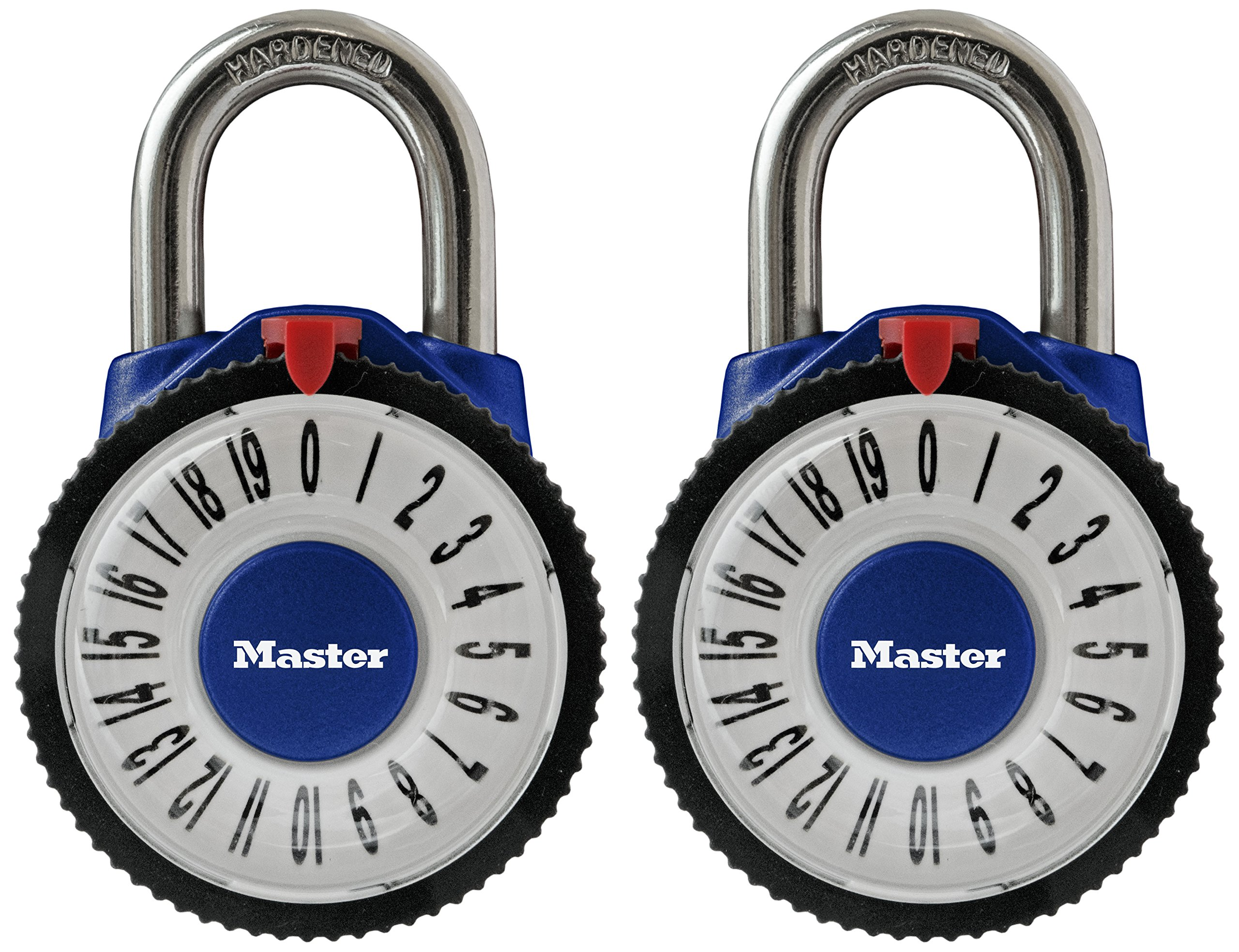 Master Lock Padlock, Standard Dial Combination Lock with Magnification Lens, 2-1/8 in. Wide, Assorted Colors, 1588T (Pack of 2-Combination Alike) by Master Lock (Image #3)