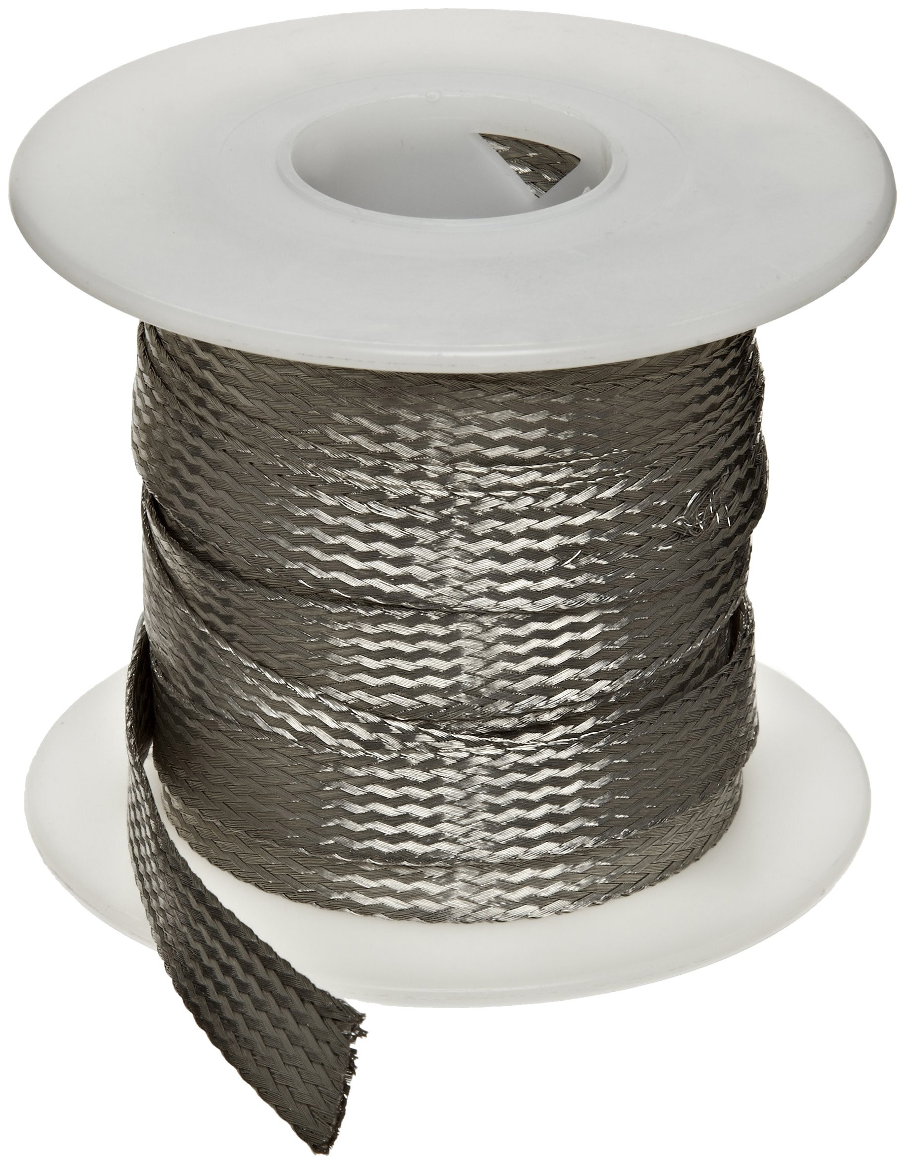 Flat Tinned Copper Braid, Bright, 1/4'' Width, 25' Length (Pack of 1)