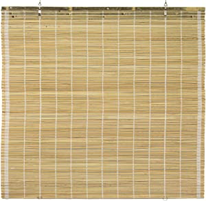 "ORIENTAL Furniture Burnt Bamboo Cordless Window Shade - Natural 36"" W"